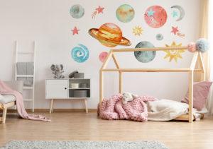 Sticker Weltall Planeten des Sonnensystems im Kinderzimmer