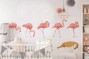 Wandsticker Tier Flamingos im Babyzimmer